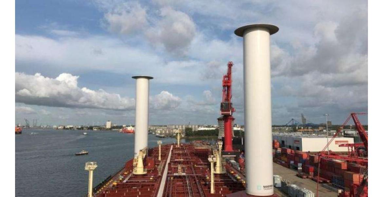 Περιστρεφόμενα κυλινδρικά ιστία για εκμετάλλευση αιολικής ενέργειας σε πλοίο της Maersk Tankers